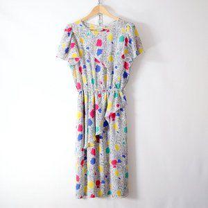 vintage 80s abstract print chiffon dress S/M